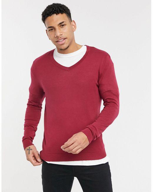 Малиновый Джемпер Из Хлопкового Трикотажа Средней Плотности С V-образным Вырезом ASOS для него, цвет: Red