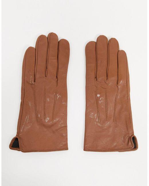 Светло-коричневые Кожаные Перчатки С Отделкой Для Управления Сенсорными Гаджетами Barney's Originals-коричневый Цвет Barney's Originals, цвет: Brown