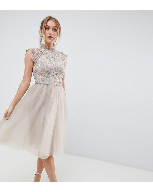 d49427175bcdb6 Chi Chi London 2 In 1 Lace Dress With Tulle Skirt In Grey in Gray - Lyst