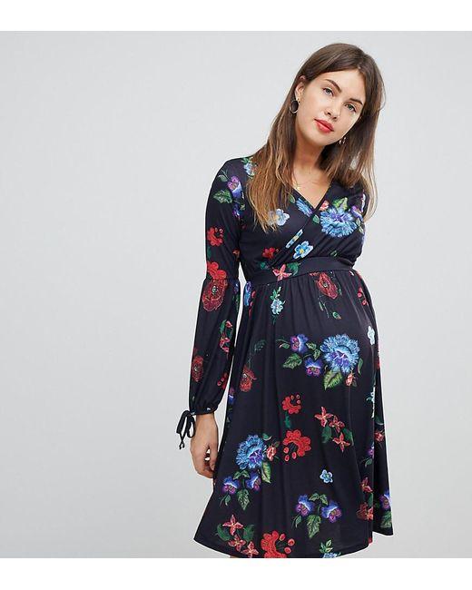 5ea4db0326b56 Bluebelle Maternity - Blue Midi Dress With Bell Sleeve In Folk Print - Lyst  ...