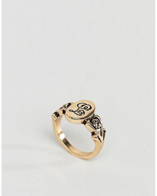ASOS - Metallic Design Ornate Monogram 'l' Initial Ring - Lyst