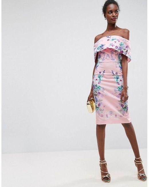 ASOS | Pink Trailing Placed Floral Deep Fold Bardot Midi Dress | Lyst