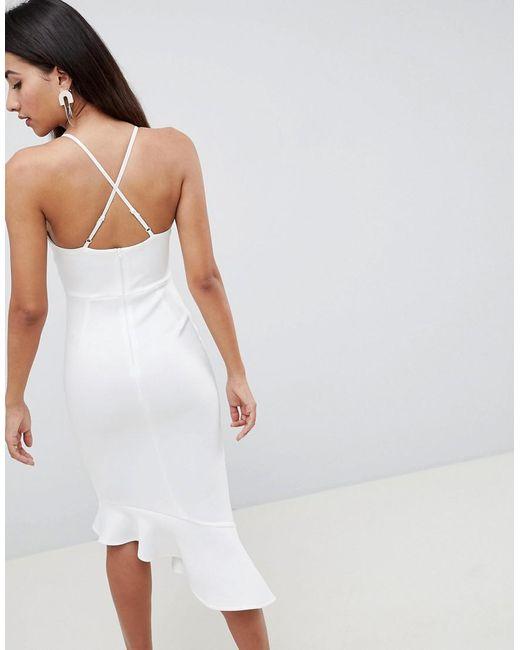 c7b3b4dd5c01 ... ASOS - White Scuba Cami Pephem Midi Dress - Lyst