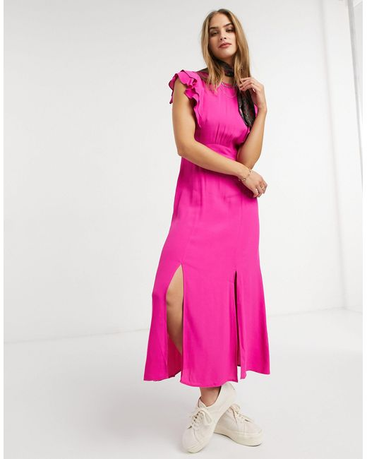Warehouse Pink Ruffle Midi Dress