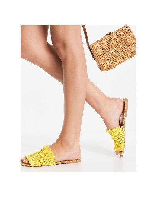 Желтые Плетеные Мюли Под Рафию Для Широкой Стопы ASOS, цвет: Yellow
