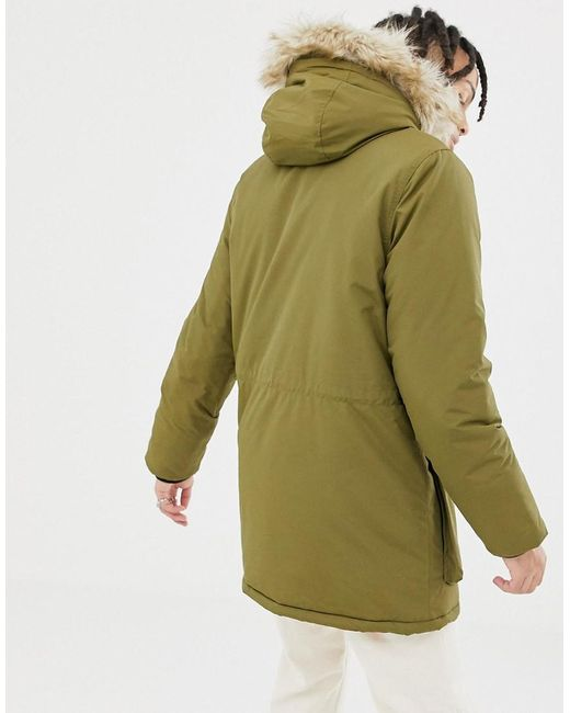 7949a521823 Men's Kirby Insulated Hooded Parka Detachable Faux Fur Trim In Olive Green