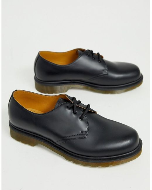 Черные Туфли С 3 Парами Люверсов Dr.martens 1461 Pw-черный Dr. Martens для него, цвет: Black