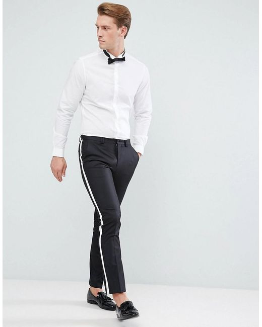 Asos Slim Shirt With Wing Collar And Bow Tie Set Save In
