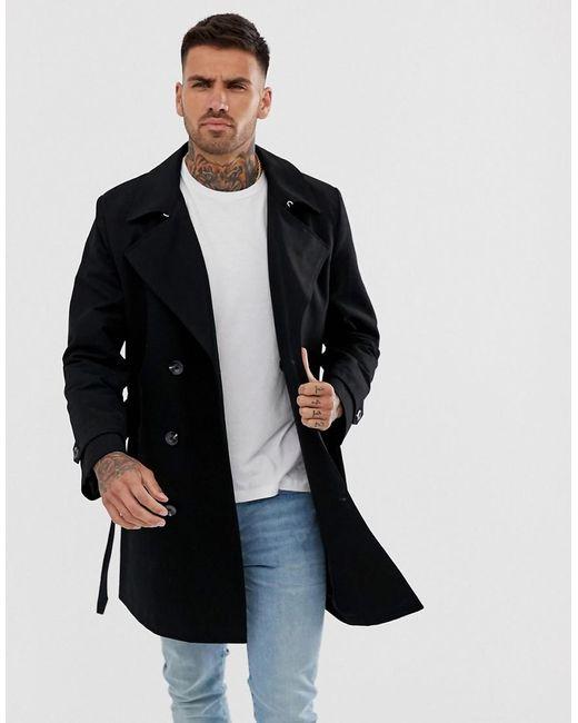 ASOS Waterafstotende Double-breasted Trenchcoat in het Black voor heren