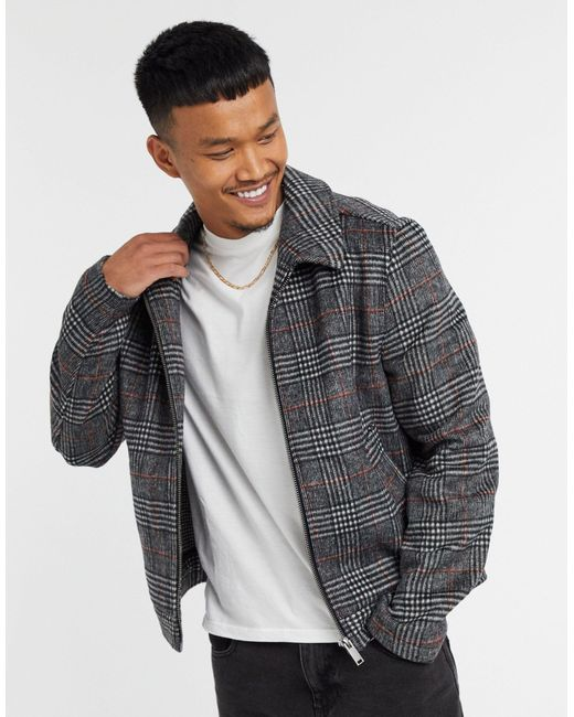 Серая Куртка Харрингтон В Клетку С Добавлением Шерсти ASOS для него, цвет: Gray