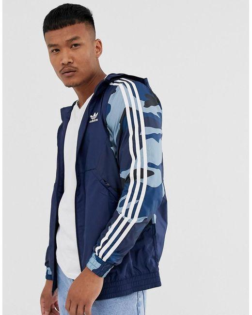 Adidas Originals Windjack Met Camouflageprint in het Blue voor heren