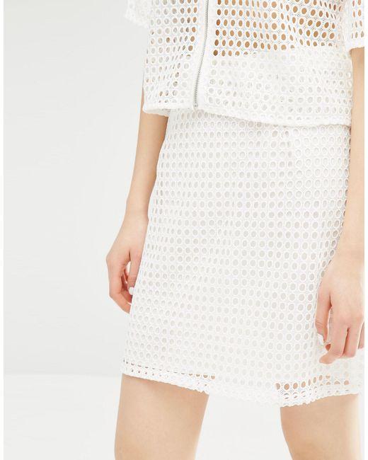 monki high waisted lace crochet skirt in white lyst