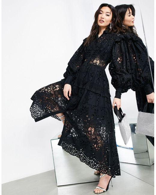 Vestido camisero negro bordado ASOS de color Black
