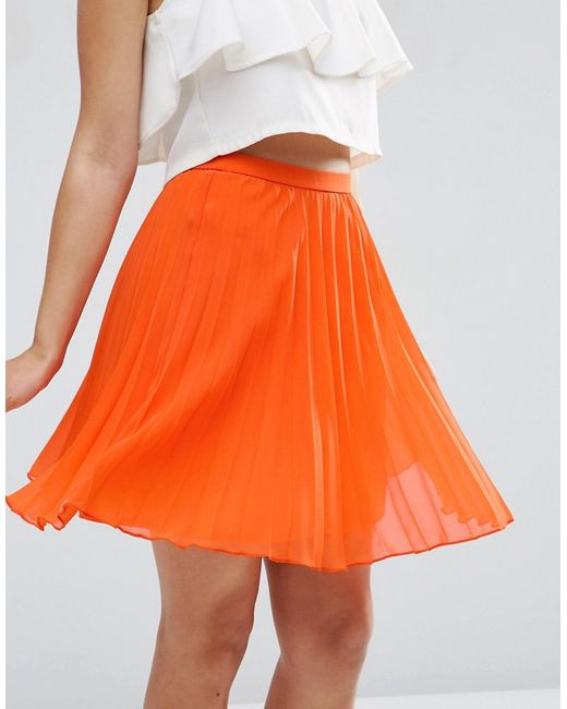 asos pleated mini skirt in orange lyst