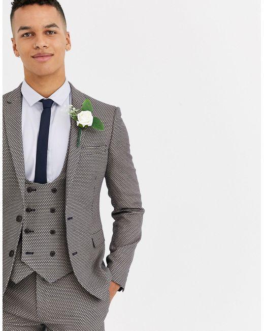 Светло-коричневый Фактурный Пиджак Супероблегащего Кроя ASOS для него, цвет: Gray