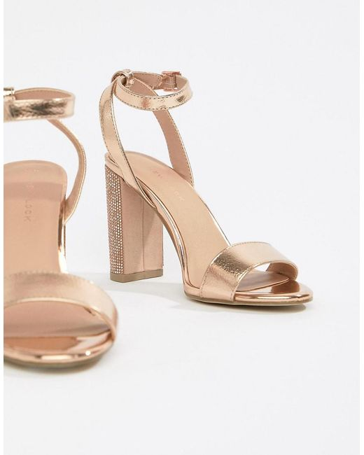 New Look - Metallic Diamante Block Heel Sandal - Lyst