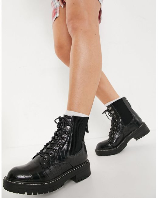 New Look Black Chunky Lace Up Ankle Boots