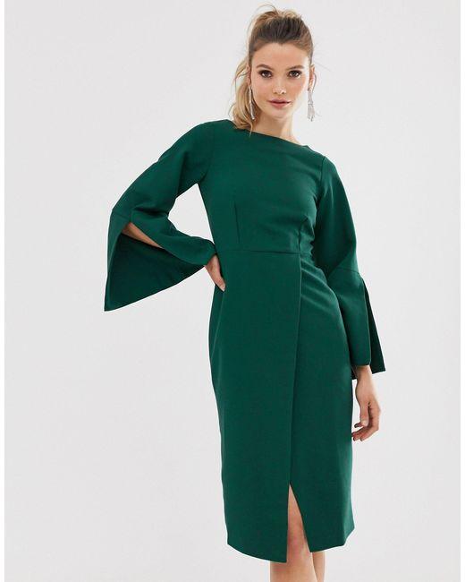 Vestido midi con manga dividida Closet de color Green