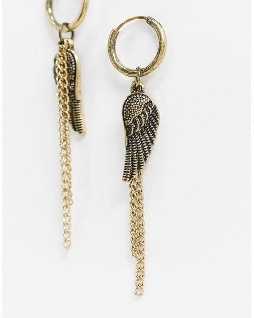 Inspired - Créoles à ornements chaînes et ailes - Doré Reclaimed (vintage) pour homme en coloris Metallic