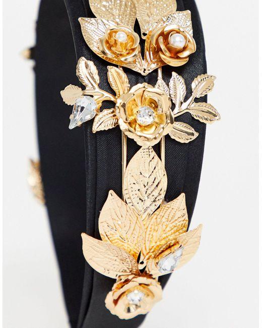 Декорированный Ободок С Листиками И Камнями ASOS, цвет: Multicolor