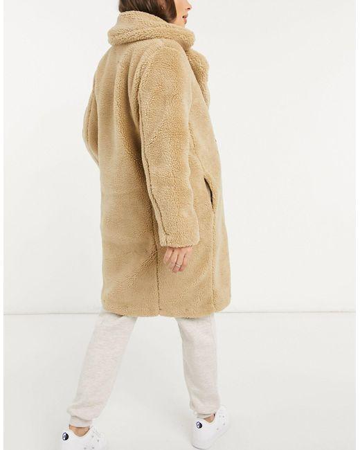 Светло-бежевое Плюшевое Удлиненное Пальто -кремовый New Look, цвет: Natural