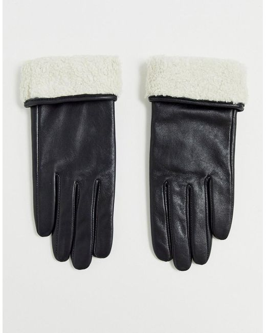 ASOS Black Leather Gloves With Touch Screen And Borg Trim