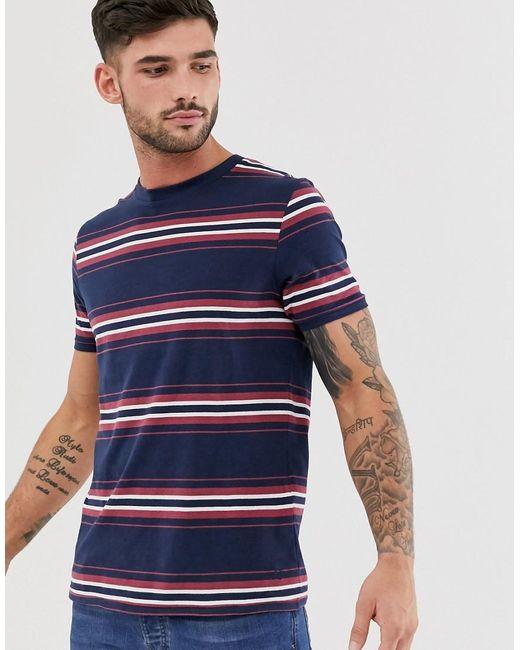 Jack & Jones Blue Premium Stripe T-shirt In Navy for men