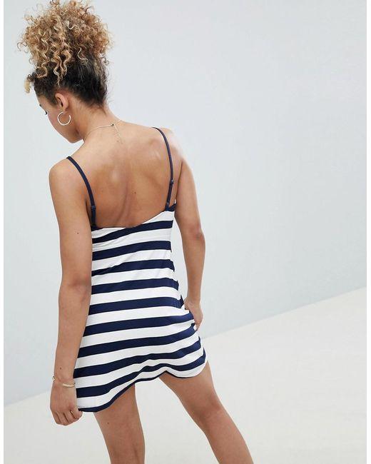 9e593b9e3d3 ... ASOS - Black Asos Design Petite Mini Square Neck Sundress In Stripe -  Lyst