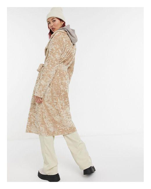 Пальто-тренч Из Искусственного Меха Кремового Цвета -кремовый River Island, цвет: Natural