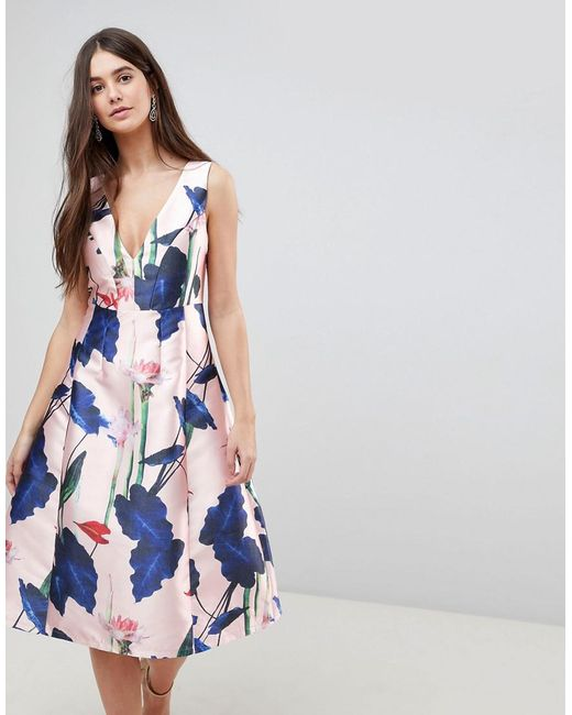 AX Paris - Pink V Neck Floral Prom Dress - Lyst
