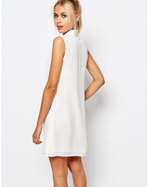 fashion union sleeveless shirt dress with tie neck in
