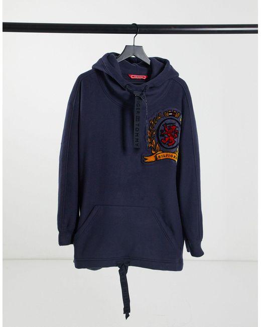 Tommy Hilfiger Purple Winter Fleece Crest Hoody
