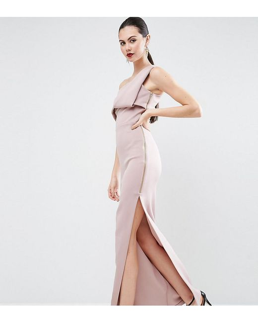 ASOS | Pink Scuba One Shoulder Fold Maxi Dress With Exposed Zip | Lyst