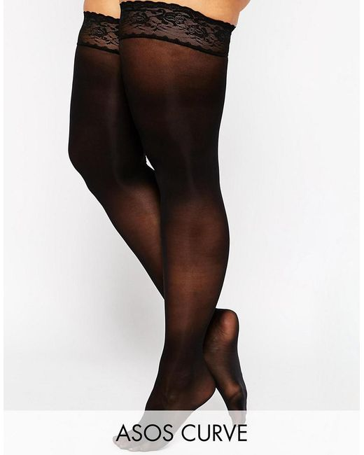 ASOS | Black 50 Denier Lace Top Hold Ups | Lyst
