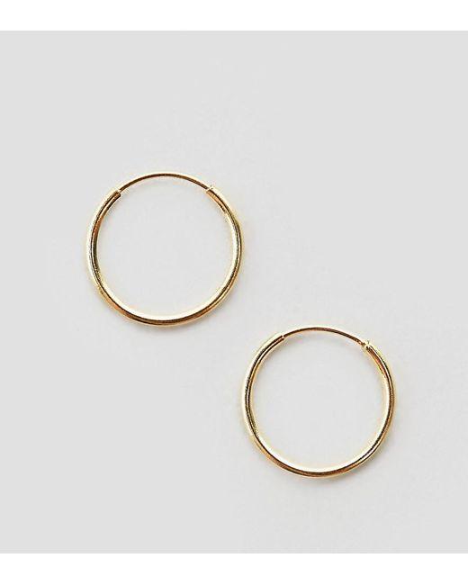 ASOS - Metallic Gold Plated Sterling Silver 9mm Fine Hoop Earrings - Lyst