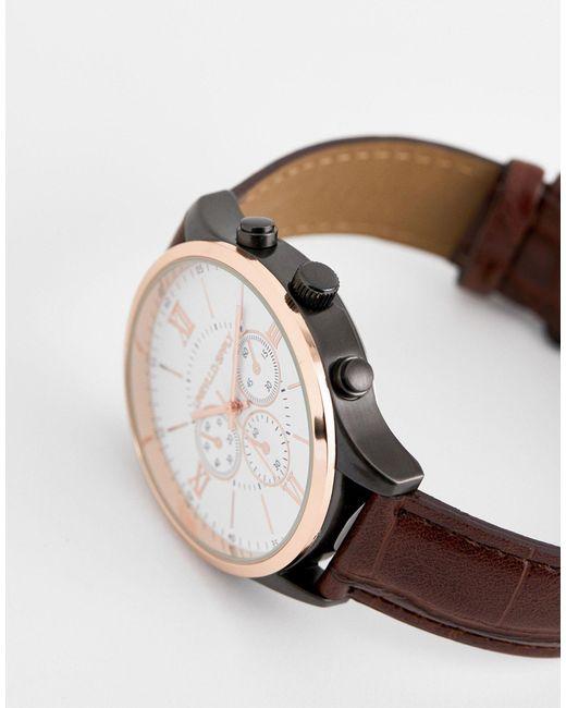 Классические Часы Из Разноцветного Металла С Коричневым Ремешком Под Кожу Крокодила ASOS для него, цвет: Brown