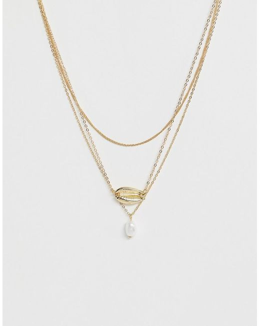 Pieces Metallic Shell Pearl Detail Necklace