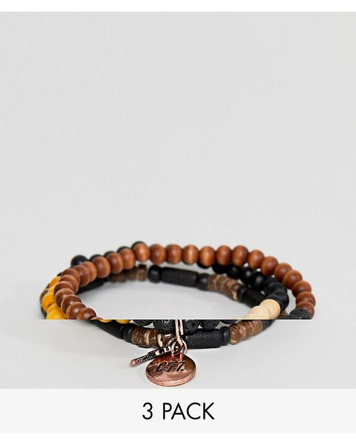 Classics 77 - Brown Beaded Bracelets In 3 Pack - Lyst
