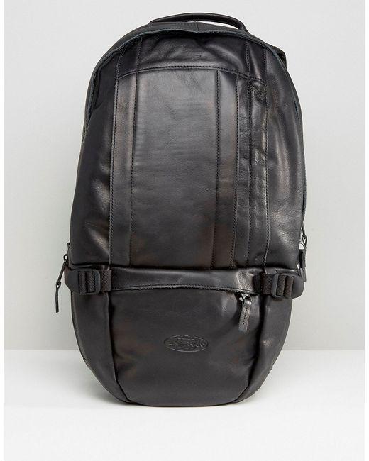 Leather Eastpak Backpack: Eastpak Leather Floid Backpack - Black In Black For Men