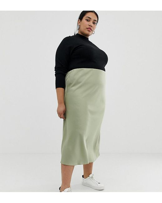 e21b62570430 ASOS - Green Asos Design Curve Bias Cut Satin Slip Midi Skirt - Lyst ...