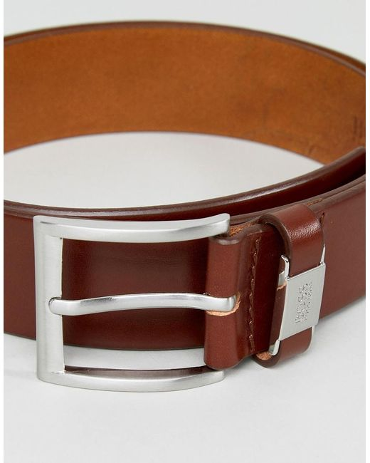 3f14a2368 ... BOSS - Brown Connio Leather Logo Keeper Belt In Tan for Men - Lyst