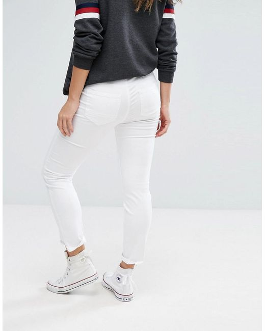 9c71192ba6d3a ... Gebe Maternity - White Over The Bump Super Soft Skinny Jean - Lyst ...