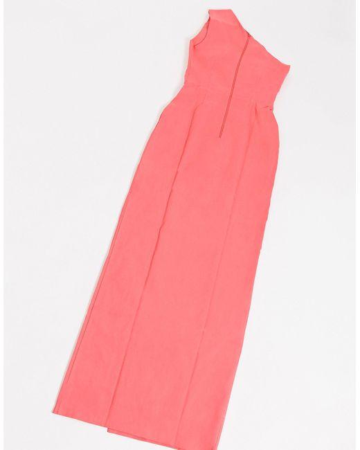 Розовое Платье Макси На Одно Плечо С Разрезом Сбоку -розовый Vesper, цвет: Pink