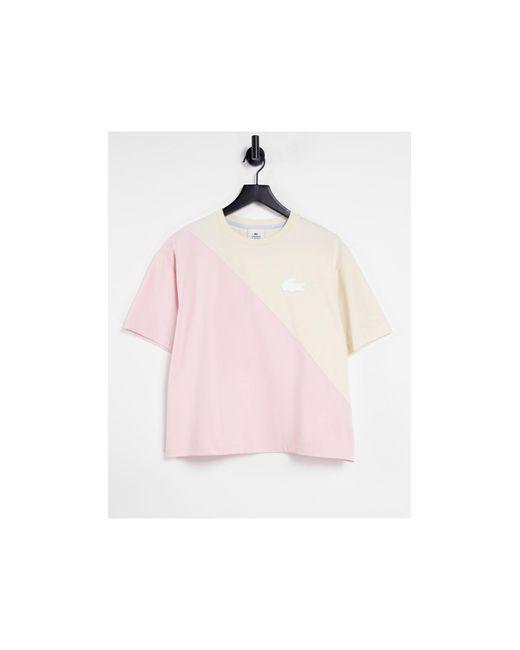 Розово-кремовая Футболка Внахлест -белый Lacoste, цвет: White