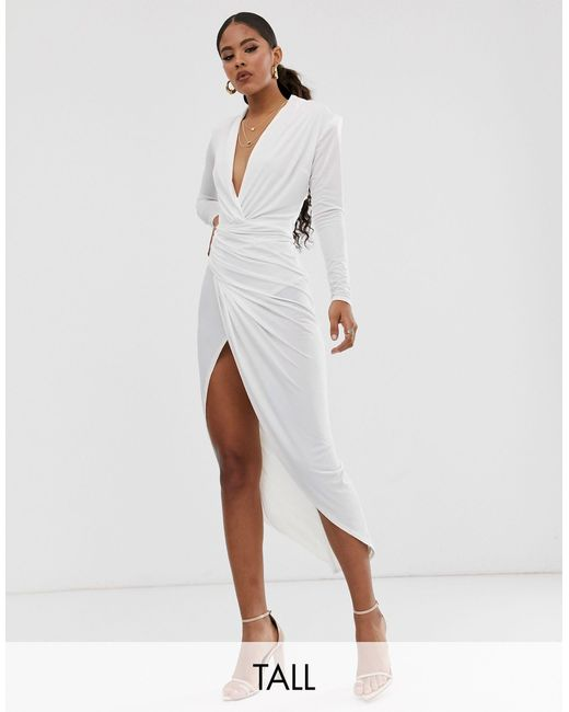 Белое Асимметричное Платье Макси С Глубоким Вырезом -белый John Zack, цвет: White