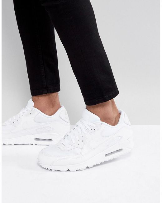 new product f2358 266fc Nike - Air Max 90 Essential Trainers In White 537384-111 for Men - Lyst ...