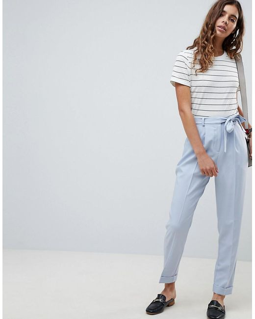 ASOS DESIGN - Blue Woven Peg Trousers With Obi Tie - Lyst