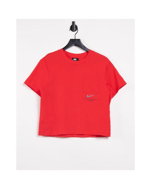 Nike Red Swoosh Oversized T-shirt