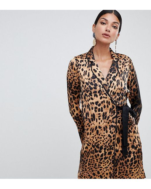 Missguided Multicolor Tux Dress With Tie Side In Leopard Satin