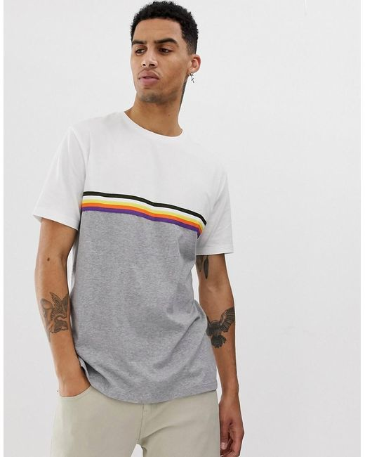 7cd0de99 ASOS - Relaxed T-shirt With Contrast Color Block And Taping In Gray Marl  for ...